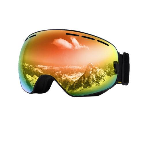 Skibrille Antifog Snowboardbrille UV Goggle Voll Verspiegelt mit Brillenetui 6F