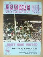 1980 European Cup Winner Cup 1st Leg 2nd RD-WEST HAM UTD v POLITEHNICA TIMISOARA