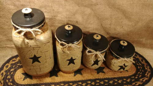 S/&P Dispenser Primitive Crackle Tan /& Black Stars Mason Jar Canister Set of 4