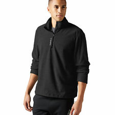 NEW $50 Men REEBOK Micro Fleece 1/4 ZipDelta Canyon Training Jacket Black Large