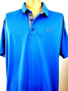 Under Armour Mens 2XL Loose Heat Gear Polo Golf Shirt Blue