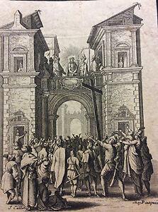 Jacques-Callot-1592-1635-tres-rare-copie-signee-Pasquier-la-Petite-Passion-XVIII