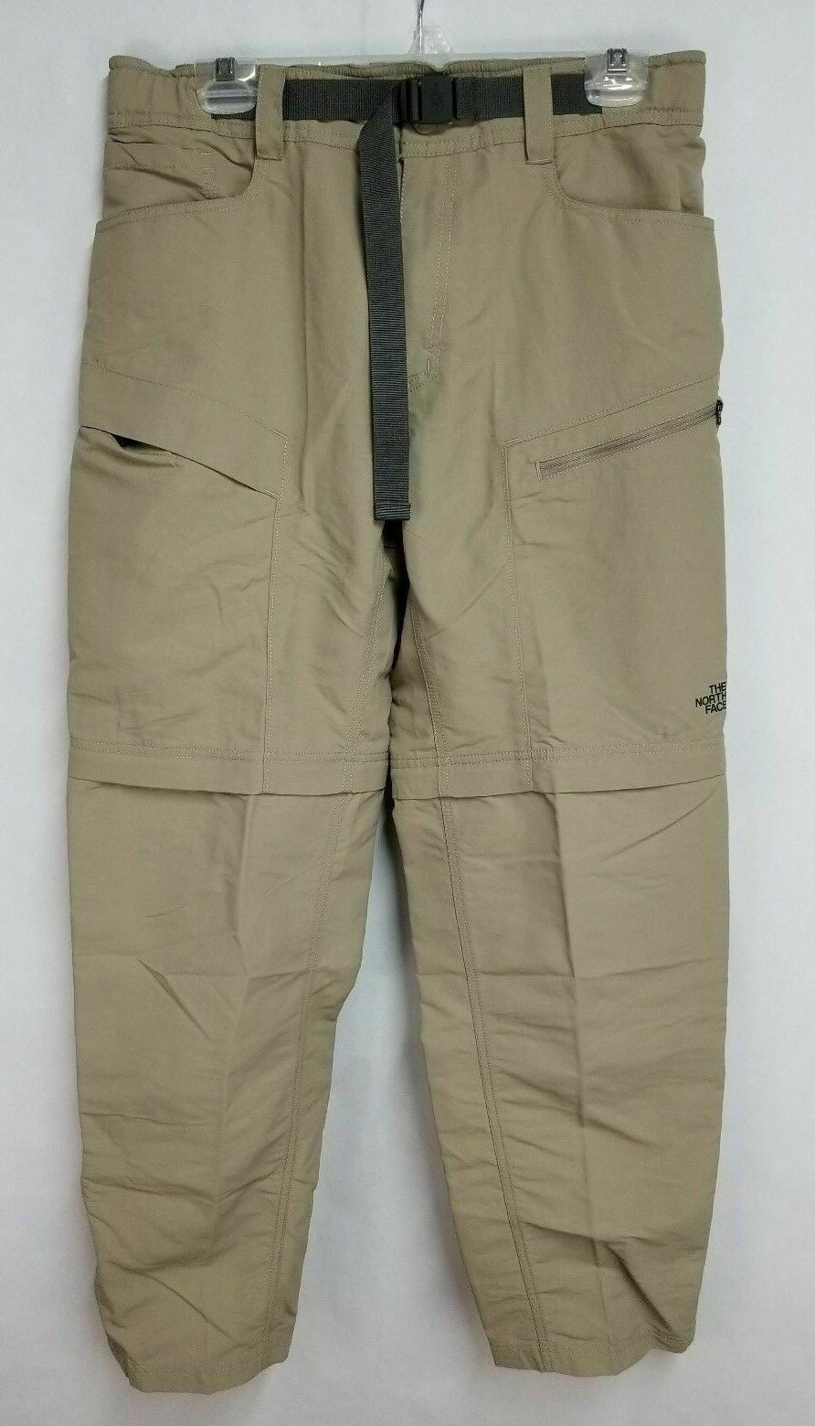 North Face Mens sz 32x32 Tan Nylon Belted Zip Off Cargo Hiking Pants
