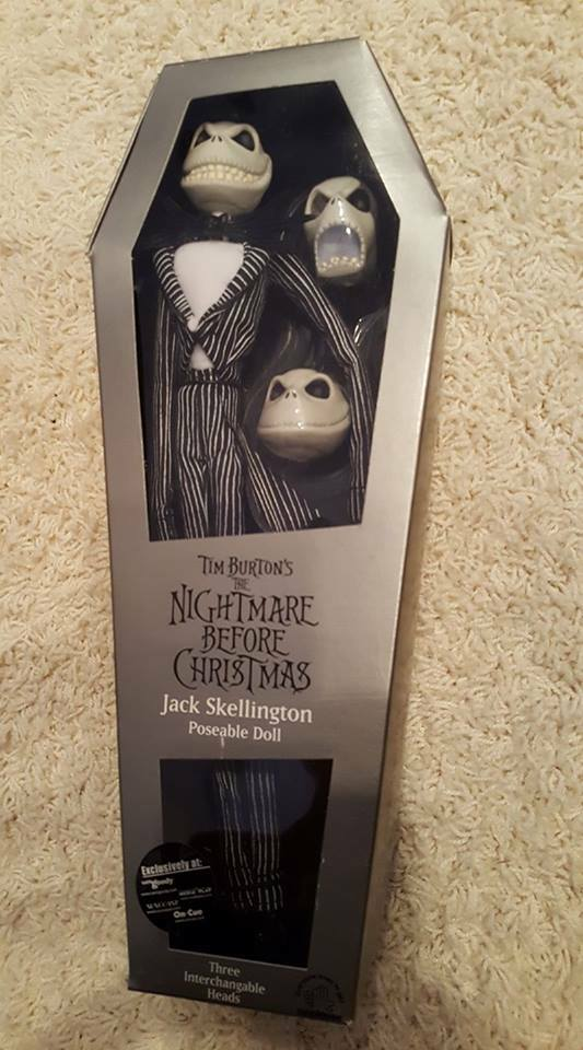 NIGHTMARE BEFORE CHRISTMAS JACK SKELLINGTON POSEABLE DOLL NEW  SEALED  3 HEADS