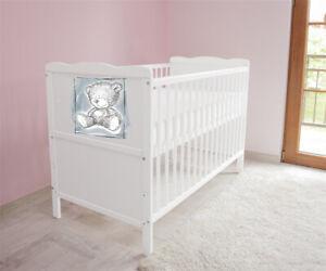 Details zu Babybett Kinderbett - Juniorbett umbaubar 3x1 + Matratze 120x60  Weiß nr 2 c