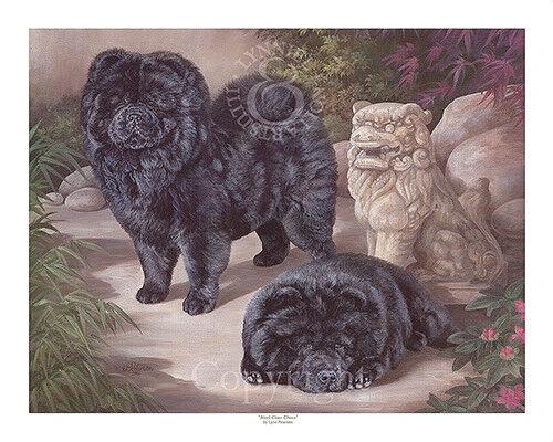CHOW CHOW fine art dog print /'Black Chow Chows/'