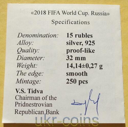 2018 Transnistria Russia FIFA World Cup 1//2 Oz Silver Coin Football Soccer RARE