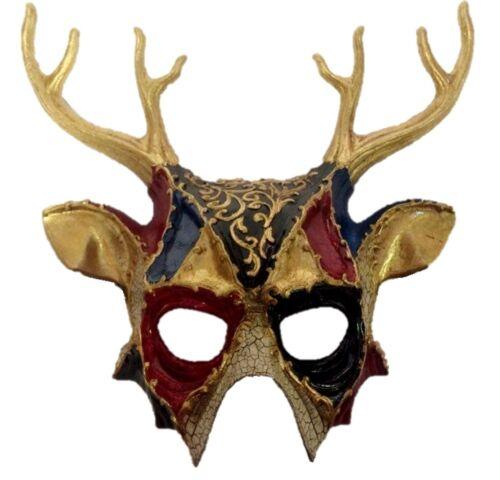 Black and Red Deer Gold Half Mask Adult Mens Animal Venetian Costume Accessory