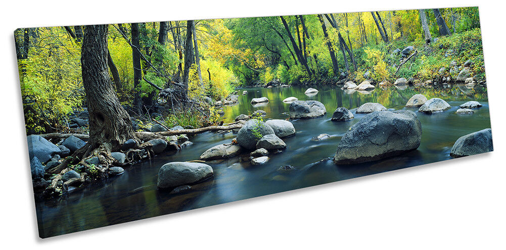 Grün Landscape Forest River Framed PANORAMA CANVAS PRINT Wall Art