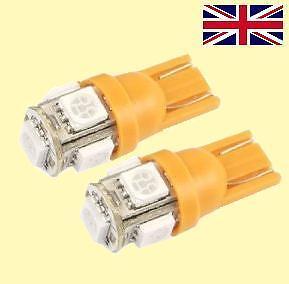 2 x T10 5 SMD LED light Bulbs W5W 501 194 Yellow Orange Amber