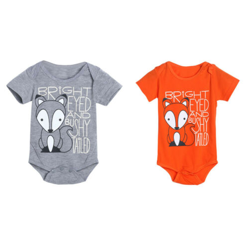 Newborn Baby Boys Girls Tod Letter Print Romper Jumpsuit Outfits Clothes Infant