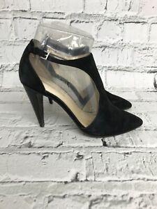 KAREN-MILLEN-Black-Suede-Ankle-Strap-Pointed-Toe-High-Heels-Womens-Size-6
