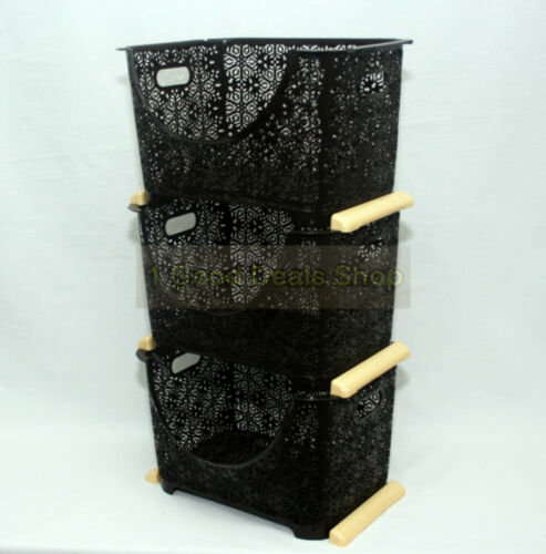 3 Tier Stacking Nesting Vegetable Storage Basket Rack Stand Kitchen Dark Brown