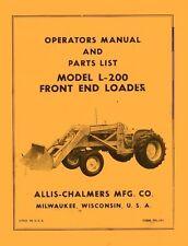 Allis Chalmers L-200 L200 Front End Loader For D-15 D-17 Operators Parts Manual