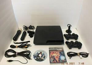 PS3 Bundle Slim Cech-3001B Console 2 Controllers Motion Move Mortal Kombat