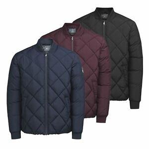 JACK   JONES South Mens Jacket Quilted Zip Up Bomber Coat   eBay 9df6a4837b70
