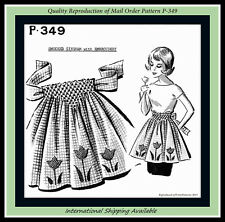 SMOCKED Tulip EMBROIDERED APRON Vintage MAIL ORDER Sewing Pattern #P-349 Flower