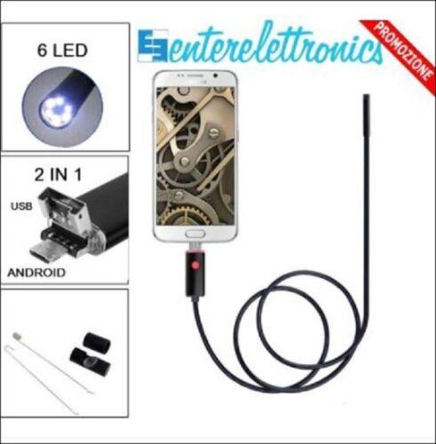ENDOSCOPIO IMPERMEABILE USB 2 IN 1 TELECAMERA ENDOSCOPICA CON  6 LED 10 MT