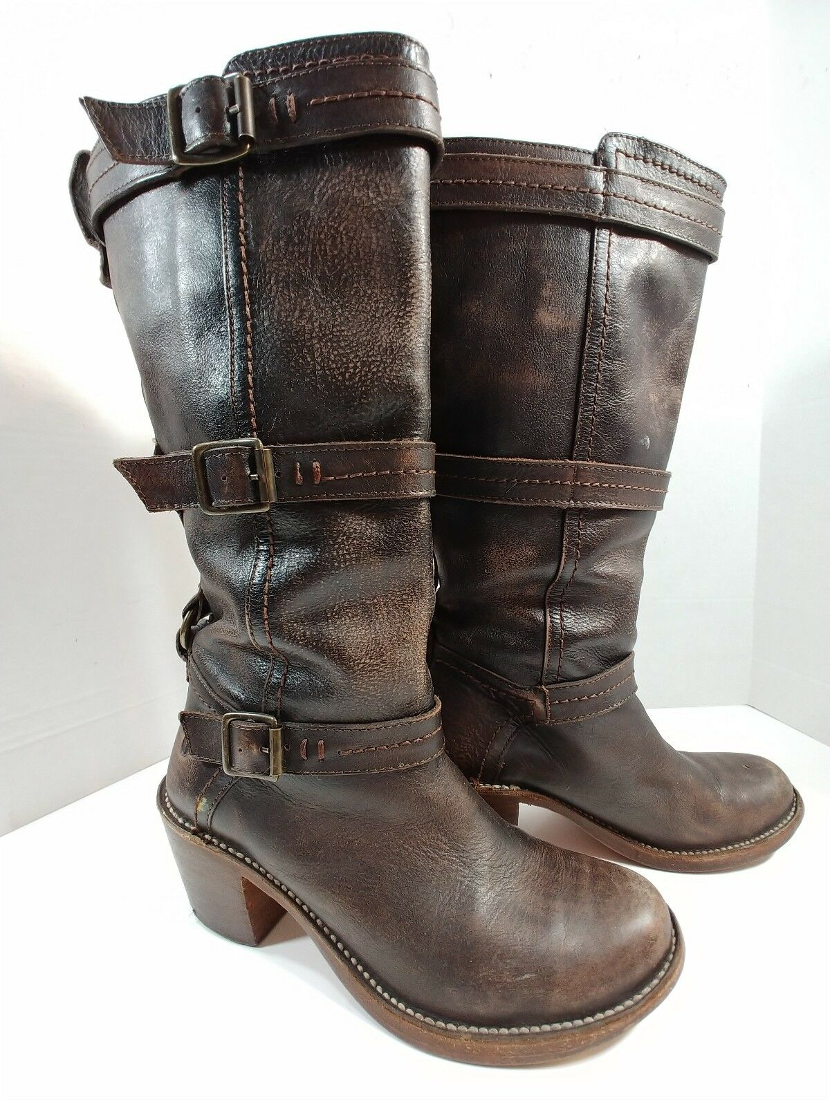 caldo Frye Marrone Distressed Leather Mid Calf Tall Pull On Buckle Buckle Buckle stivali donna 6.5B  vendita scontata online di factory outlet