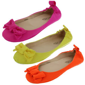 ladies-spot-on-flat-shoes-yellow-orange-and-pink-f8561