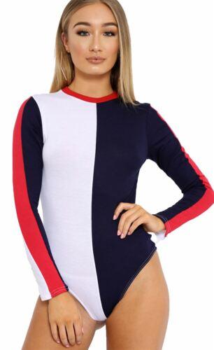 Frauen Klotz Farbe Kontrast Streifen Strecken Trikot Bodysuit Körper Top