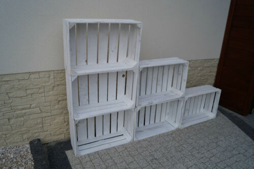 Set 6 stk Amazing Holz Apfel Kästen Boxen Kiste 60x40x20 cm weiß Vintage