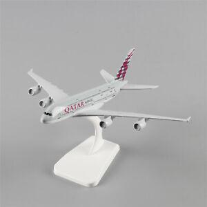 A-380-20cm-QATAR-Plane-Airbus380-Airlines-Airways-Aircraft-Diecast-Model