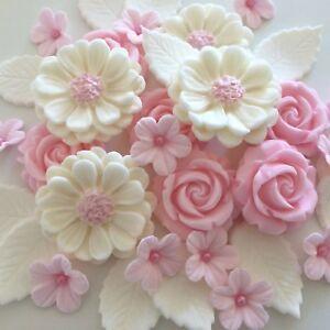 Pink Blush Rose Bouquet Edible Sugar Paste Flowers Cup Cake