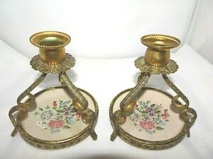 Deceased-Estate-1960-039-s-Petit-Point-Tapestry-Gold-Tone-Metal-Candle-Stick-Holders