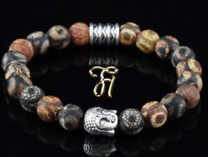 Tibet-Achat-Armband-Bracelet-Perlenarmband-Buddhakopf-silber-8mm