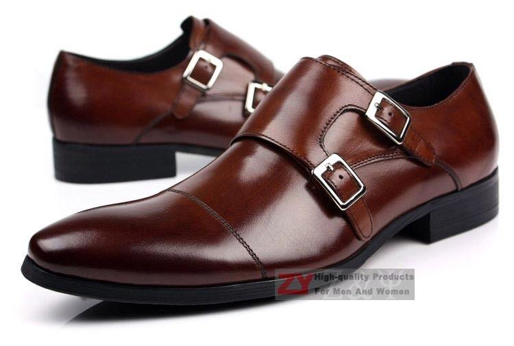 Nuevo Zapatos Para Hombre De Cuero Real Vestido Formal Zapatos Nuevo Doble Monje Correa Hebilla Marrón 191e37