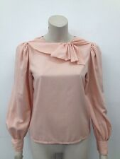 Vintage Expressions Pink Pussy Bow 1970s Ladies Blouse UK S (W298)