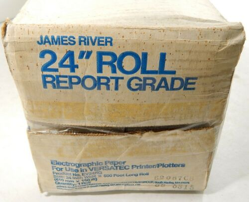 """James River Electrographic Paper Roll 24/"""" x 500/' NIB ^ Use With Versatec Printer"""
