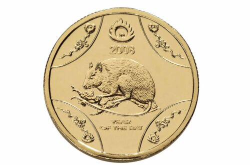 $1 Lunar Series Year of the Rat Australian One Dollar Coin UNC in card 2008