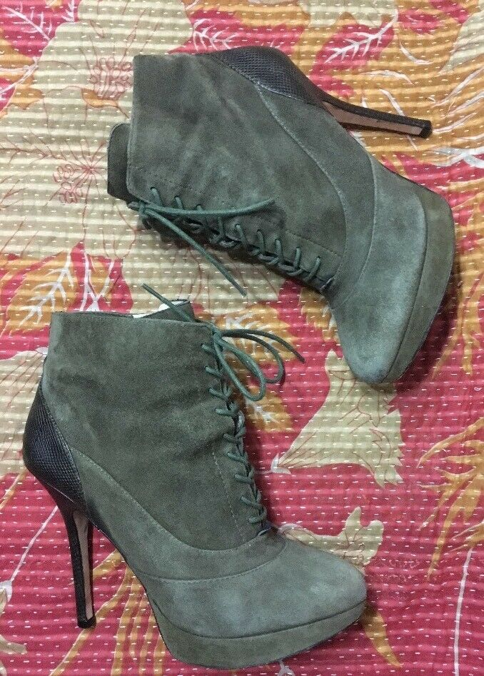 Joan & David Dafaunce Suede Snakeskin Ankle Boots lace lace lace up booties Platform Sz 8 6af024