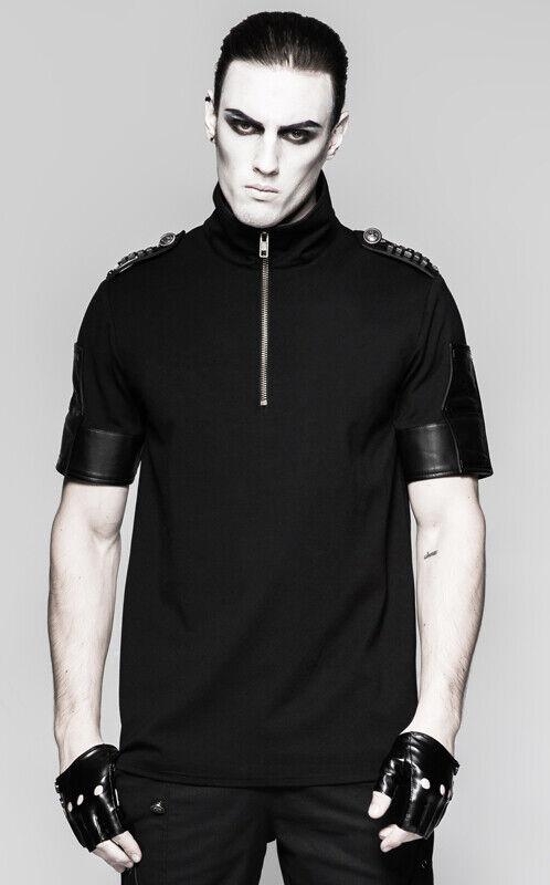 Reißverschluss T-Shirt Oberteil Gothic Punk Militär Trend Bronze PunkRave Herren Herren Herren | Deutschland Frankfurt  f89da9