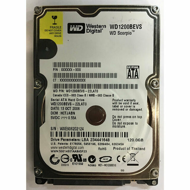 "Western Digital 120GB, 5400RPM, SATA, 2.5"" - WD1200BEVS-22LAT0"
