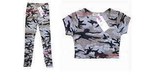 Filles-Enfants-Gris-Camouflage-Haut-Court-Ete-Legging-Age-7-8-9-10-11-12-13