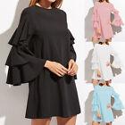 ZANZEA Women's Flouncing Bell Sleeve Loose Plus Evening Party Mini Dress Summer