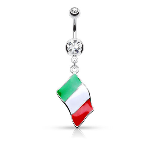 Italy Germany Details about  /Euro Dangle Flag CZ Belly Bar Spain Ring Poland France