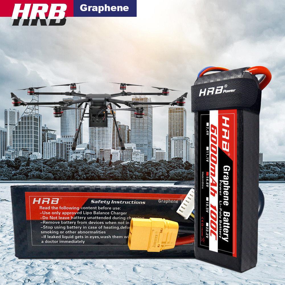 HRB Graphene 14.8V Lipo Batería 4S 6000mAh 100C XT90 Enchufe para RC Coche Camión Embarcación