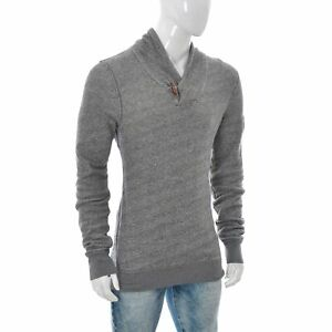 Tommy-Hilfiger-Jeans-Hommes-Bouton-Col-Chale-Pull-Chemise-Manches-Longues-Gris-L