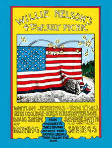 Country-and-Western-Willie-Nelson-Fourth-of-July-Concert-Poster-reprint-1973