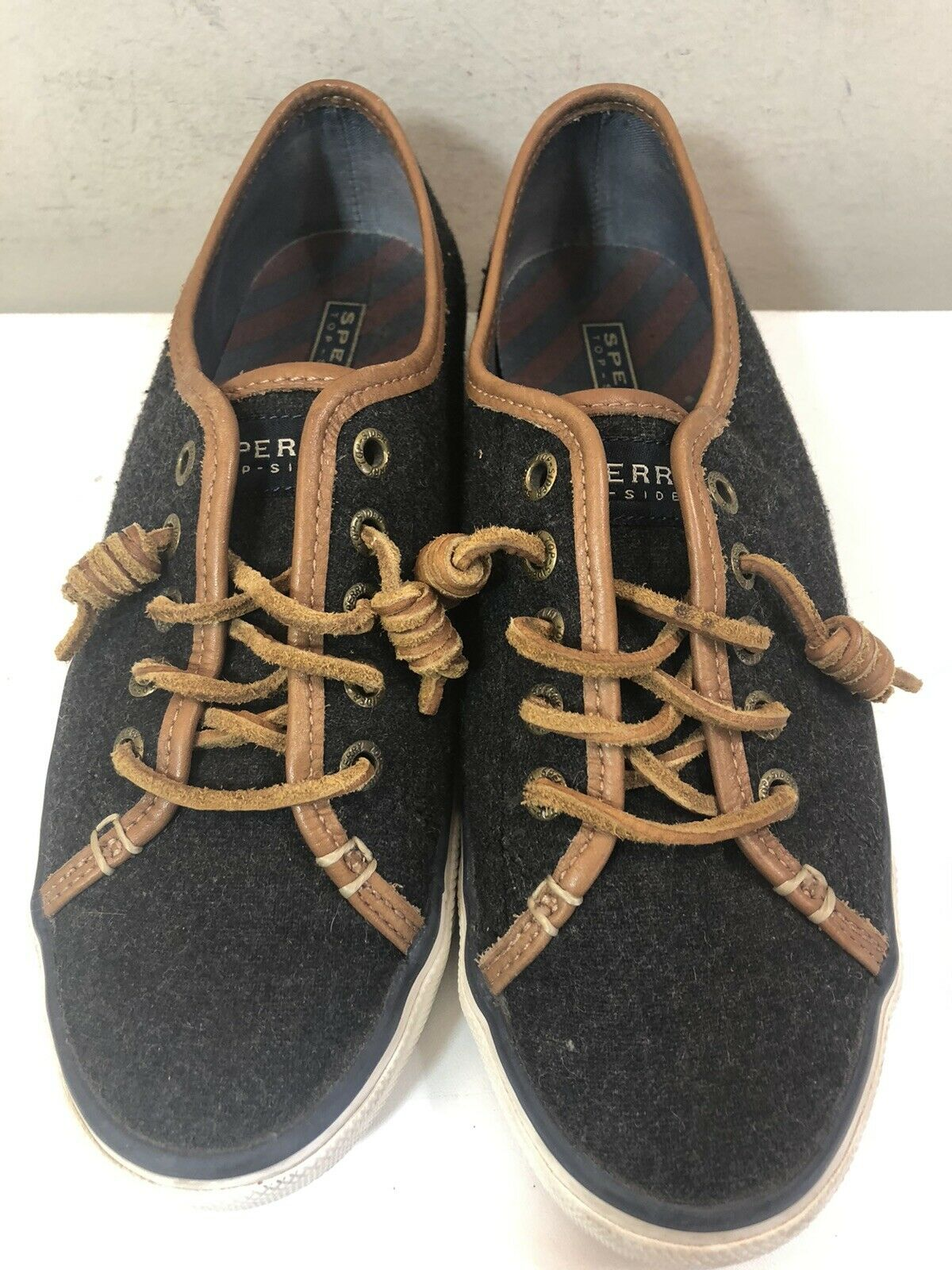 Women's Sperry STS93417 Topsider Crest Gray Wool Sneakers Leather Laces Size 8M