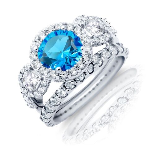Brilliant Blue Topaz Halo Rhodium Sterling Silver Wedding Engagement Ring Set