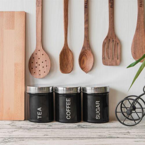 Metal Té Café Azúcar Oslo bote de almacenamiento de cocina Set-Negro