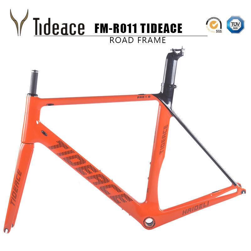 56cm BSA arancia Tideace T800 Full Carbon Fiber Road Racing Bike Frames OEM Frame