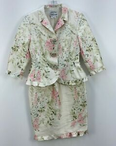 VTG Rickie Freeman for Teri Jon White Silk Floral Print Womens Dress Suit Sz 14