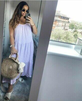 H/&M Trend Lilac Crinkled strappy midi dress S 10 12 Bnwt