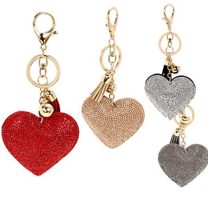 Vogue-Full-Rhinestone-Heart-Tassel-Handbag-Charm-Pendant-Bag-Keyring-Key-Chain